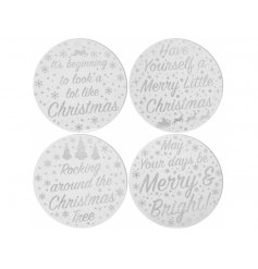 A Luxury Living inspired assortment of glass candle plates, each featuring a mirrored effect and sparkly silver scripted