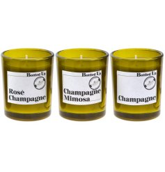 Let the tasty smell of a freshly poured Fizzy Champagne seep into your home spaces with this stylish assortment of vint