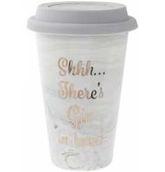 A chic and stylish marble and gold design travel mug with a humorous Gin slogan.