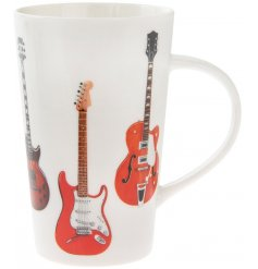 A fine quality, tall mug with a guitar design. A great gift item for music enthusiasts.