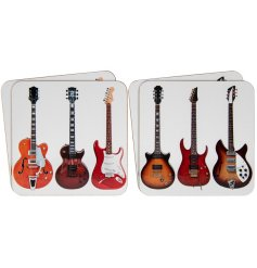 This set of 4 coasters makes a great gift for guitar enthusiasts.