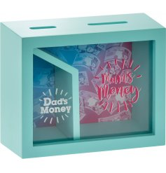 A colourful money box for mum and dad funds. A great gift item.