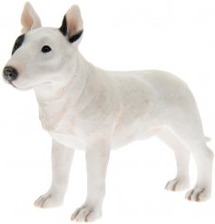 A fine quality black and white bull terrier dog figurine with gift box.