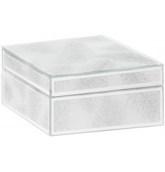 A stylish mirrored glass square Jewellery Box with a silver glitter feather design