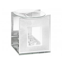 A chic and stylish glass mirror oil burner with a silver glitter feather design.