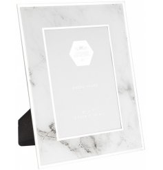 Showcase your most treasured photographs in this stylish marble and mirror glass photo frame.