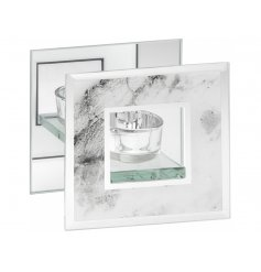 A chic and stylish mirror marble t-light holder.