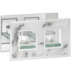Stay on trend with this mirror marble double t-light holder. Creating a wonderful glow when t-light candles are lit.