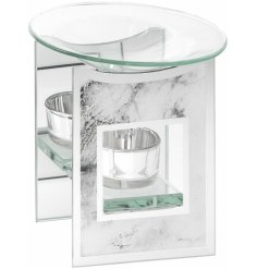 A chic and stylish mirror oil burner with a grey marble finish. A stylish gift item and interior accessory.
