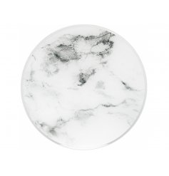 A stylish glass candle plate with mirror and marble finish. A chic protective plate to display your candles on.