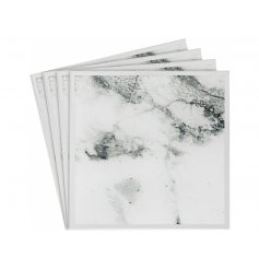 A set of 4 mirrored coasters with an on trend marble design finish.