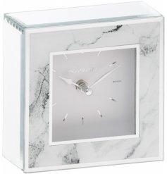 A chic and stylish glass mirror clock with a marble front.
