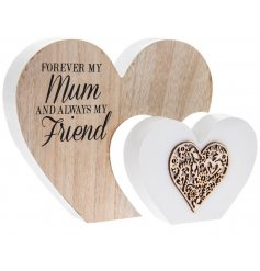 A shabby chic style double heart sign with a lovely Mum sentiment slogan.