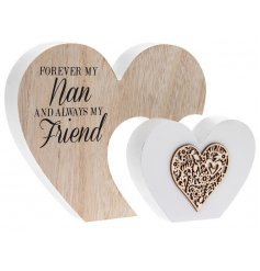A shabby chic style double wooden heart plaque with a lovely Nan sentiment slogan.