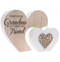 A shabby chic style double wooden heart sign with a lovely Grandma sentiment slogan.