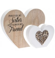 Forever my Sister and always my friend. A beautiful 3D double heart sign with a decorative wooden heart motif.