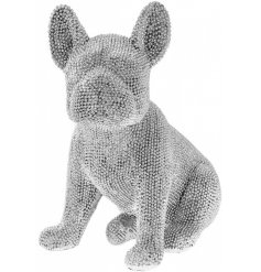 A glamorous sitting french bulldog figurine with silver beading. A unique decoration for the home.