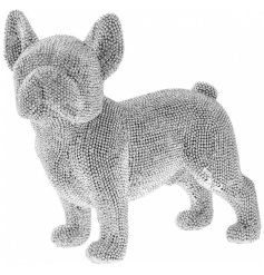 A stylish and unique standing french bulldog decoration with silver beading.