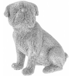 A stylish and unique silver beaded sitting pug ornament.
