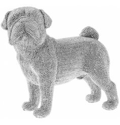 A stylish and unique standing pug figurine with silver beading. A glamorous gift and interior accessory.