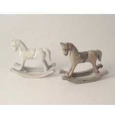 A mix of 2 wooden rocking horses in shabby chic white and brown designs.