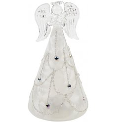 A stunning glass angel decoration with lights. Complete with a decorative silver patterned skirt with gems.