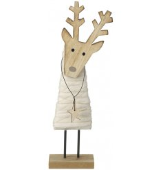 A charming wooden and wool reindeer ornament with glitter gold thread and a hanging star.