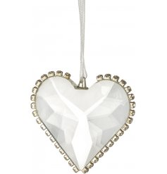 A stylish heart decoration with diamond detailing.
