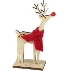 A shabby chic style wooden reindeer decoration with a red felt scarf and red nose.