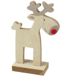 A simple and cheerful wooden reindeer decoration with a red pom pom nose. Ideal for painting and personalising.