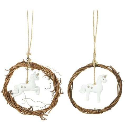 Natural woven wreaths with adorable white and gold glitter reindeer decorations.