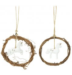 A mix of 2 hanging wreath decorations, each with a gold glitter unicorn decoration.