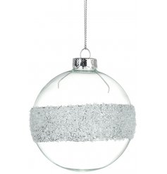 A simple and classy glass bauble with a silver glitter band.