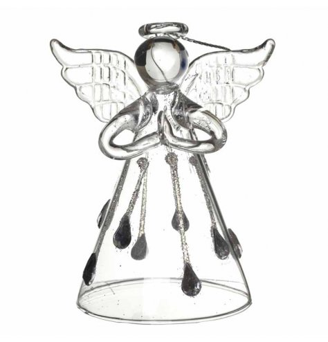 An elegant glass angel decoration with silver glitter droplets cascading down the skirt.