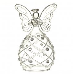 A beautiful glass angel decoration with large butterfly wings and a detailed patterned skirt.