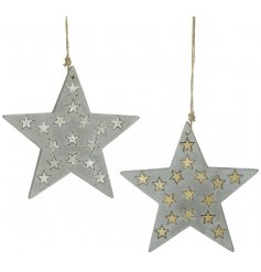 A mix of 2 concrete star decorations with silver and gold mini scatter stars set inside.