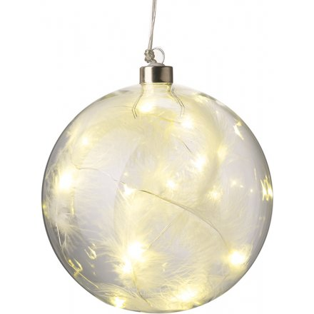 Light UP Feather Bauble 10cm