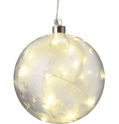 A chic glass bauble encasing beautiful white feathers and led lights.