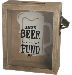 A great gift item for dad! This wooden beer fund money box comes with a bottle opener.