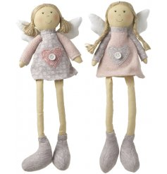 A mix of 2 pretty sitting angel decorations in pink and grey.