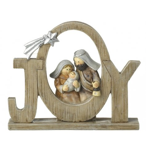 A wood effect JOY sign with a silver shooting star decoration and beautifully detailed traditional nativity scene