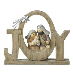 A traditional nativity scene set within a lovely JOY sign. A unique decoration celebrating the true meaning of Christmas