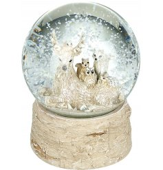 An utterly enchanting snow globe with a bark style base. Inside discover a magical woodland world with reindeer.