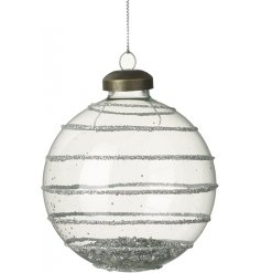 A stylish glass bauble with a silver glitter pattern. Complete with silver sequins inside.