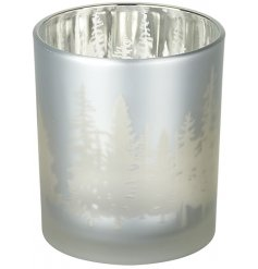 Create a warming ambience in the home with this stylish glass t-light holder with a woodland design.