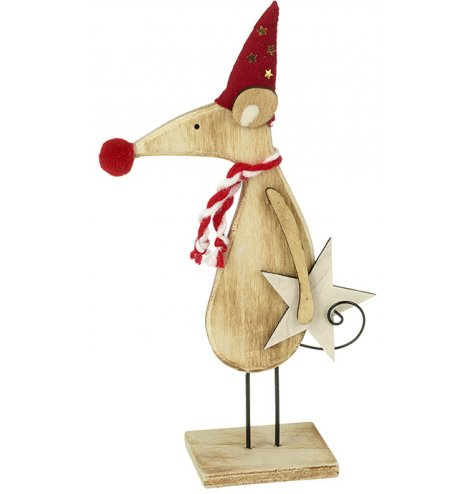 A charming wooden mouse ornament with a pointed red hat featuring gold stars, a candy cane scarf and red pompom nose