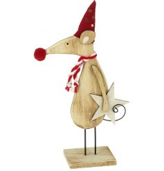 A gorgeous wooden mouse decoration in a red hat with scarf and star decoration.
