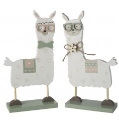 An assortment of 2 wooden llama ornaments with glasses. Complete with floral details and decorative patterns.