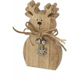 A charming wooden reindeer decoration complete with a silver bell and snowflakes.