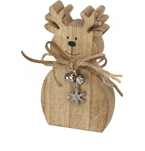 A rustic wooden reindeer decoration with a PU leather and jute string bow, silver snowflake charm and silver jingle bell